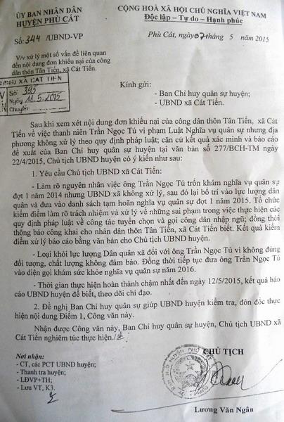 Công văn chỉ đạo loại Trần Ngọc Tú ra khỏi lực lượng dân quân tự vệ
