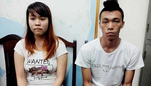 Nguyễn Thanh Thuỷ và Nguyễn Vũ Anh tại cơ quan công an