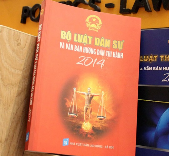 """Bìa sách """"Bộ Luật Dân sự và văn bản hướng dẫn thi hành 2014"""" có gương mặt của diễn viên hài Công Lý. Sau đó, nhà xuất bản, đơn vị phát hành, nhà in sách đều bị phạt - Ảnh: M.Hoa"""
