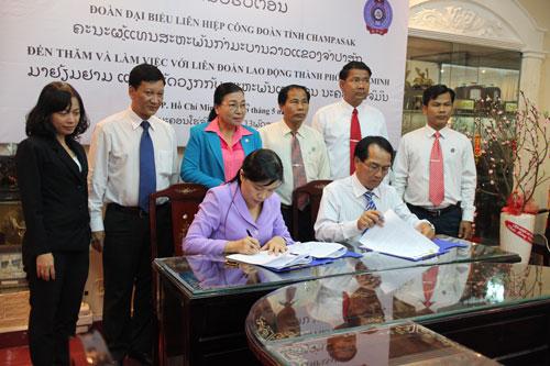LĐLĐ TP HCM và Liên hiệp Công đoàn tỉnh Champasak ký kết thỏa thuận hợp tác