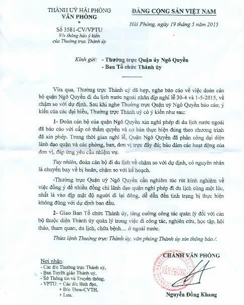 Văn bản của Thường trực Thành ủy Hải Phòng yêu cầu các cán bộ lãnh đạo quận Ngô Quyền vắng mặt tại nhiệm sở sau kỳ nghĩ lễ rút kinh nghiệm