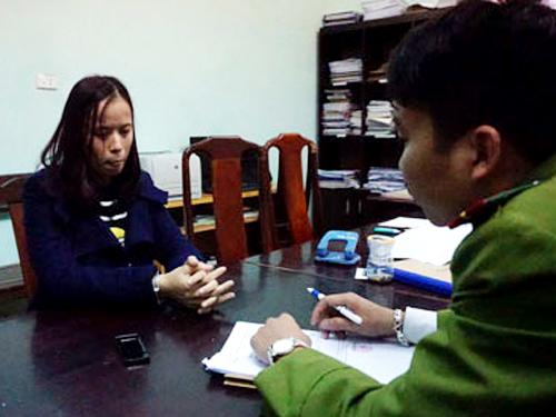 Bị can Đinh Thị Hương Thùy tại cơ quan điều tra - Ảnh: VOV