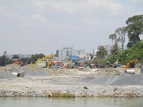 Dự án lấp sông Đồng Nai của Công ty Toàn Thịnh Phát đang tạm dừng thực hiện vì phản ứng của dư luận  Ảnh: MINH KHANH