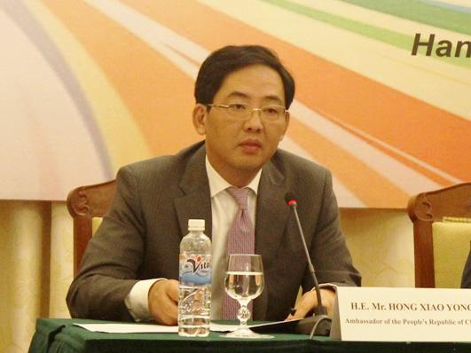 Đại sứ Trung Quốc Hồng Tiểu Dũng phát biểu tại hội thảo