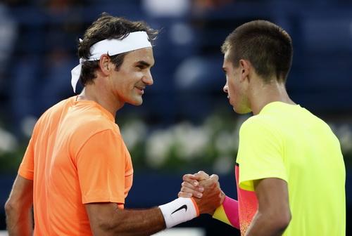 Federer và Coric sau trận bán kết