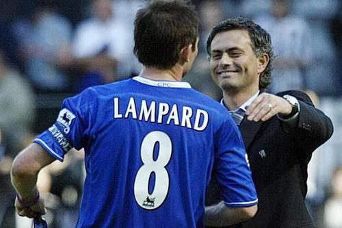 Lampard và HLV Jose Mourinho khi còn làm việc chung ở Chelsea