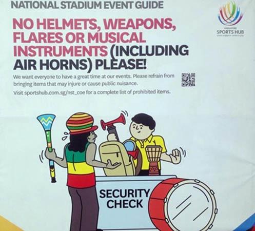 Bản cấm mang kèn vuvuzela và các loại trống được BTC SEA Games 28 đưa ra