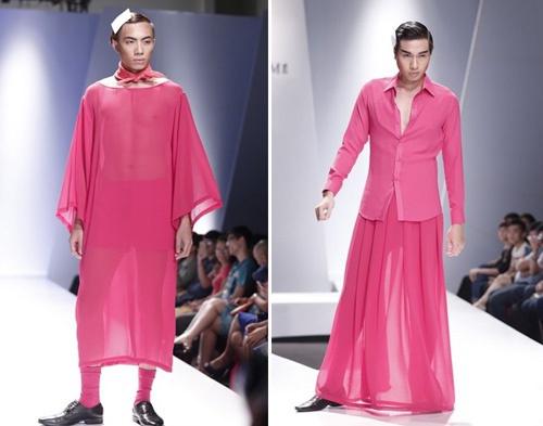 Nam mặc váy trong bộ sưu tập của Hà Nhật Tiến. Ảnh: Internet