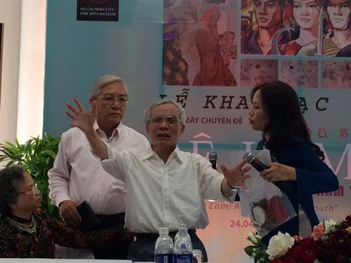 Họa sĩ Lê Lam ôn lại những kỷ niệm ở chiến trường trong ngày khai mạc triển lãm của ông