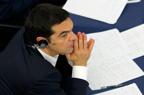 Thủ tướng Hy Lạp Alexis Tsipras tại cuộc họp của Nghị viện châu Âu tại Strasbourg hôm 8-7 Ảnh: REUTERS