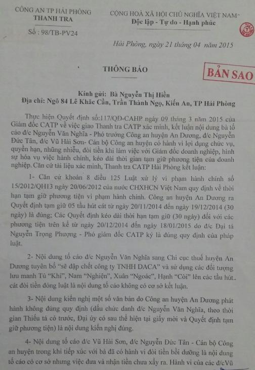 Văn bản Thanh tra Công an TP Hải Phòng gửi bà Nguyễn Thị Hiền
