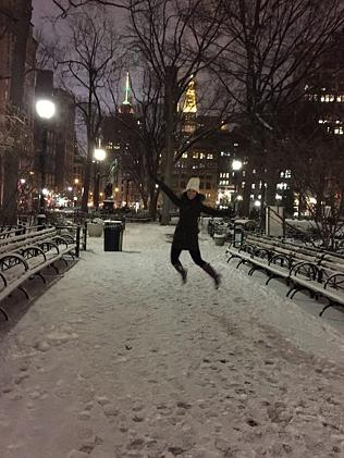 Eerie ... Union Square, Manhattan, during Winter Storm Juno. Picture: Samantha Soh, Faceb