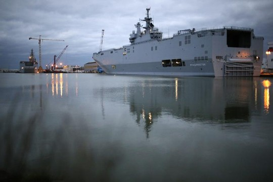 Tàu chiến Mistral tại nhà máy đóng tàu STX Les Chantiers de l'Atlantique - PhápẢnh: IB TIMES