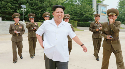 North Korean leader Kim Jong-un visits a military academy in this photo released by Rodong Sinmun on Saturday.