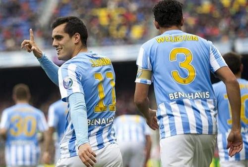 Juanmi sau bàn thắng quý như vàng từ phút thứ 7 cho Malaga