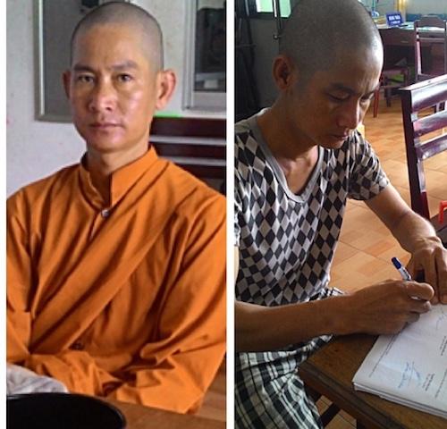 Hai sư giả Hải và Khánh tại công an