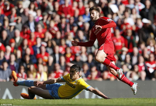 Adam Lallana ghi bàn mở tỉ số cho Liverpool