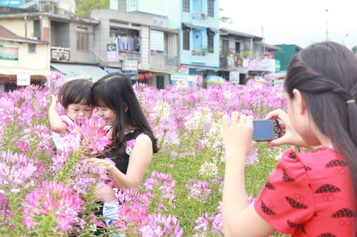 Mẹ và con cùng làm dáng chụp ảnh với Hoa Hồng Ri