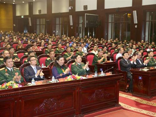 Lãnh đạo Đảng, Nhà nước, Chính Phủ, MTTQc Việt Nam và Quân đội tham dự giao lưu. Ảnh: QĐND