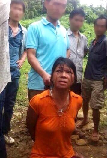 Nguyễn Thị Hán (Hương), khi bị bắt cùng nghi can gây ra vụ thảm sát
