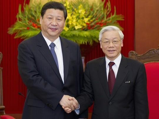 Tổng Bí thư Nguyễn Phú Trọng và Tổng Bí thư, Chủ tịch Trung Quốc Tập Cận Bình trong chuyến thăm Việt Nam tháng 12-2011 - Ảnh: TTXVN