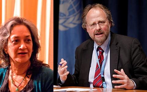 Báo cáo viên đặc biệt về tự do tôn giáo và tín ngưỡng - Ông Heiner Beilefeldt (phải)  và Báo cáo viên đặc biệt về quyền văn hóa của Hội đồng Nhân quyền Liên Hợp Quốc - Bà Farida Shaheed. Ảnh: UN