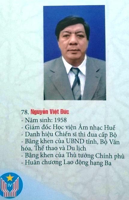 Ông Nguyễn Việt Đức được in trong cuốn kỷ yếu các đại biểu điển hình yêu nước tại đại hội lần này