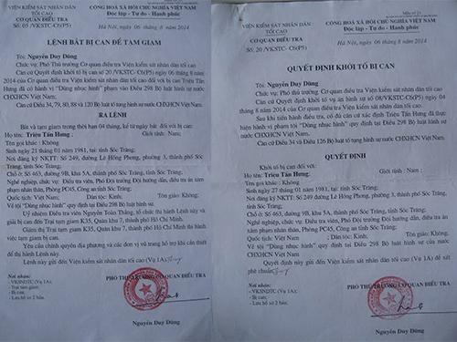 Lệnh bắt bị can để tạm giam và quyết định khởi tố bị can đều ghi tên Triệu Tấn Hưng