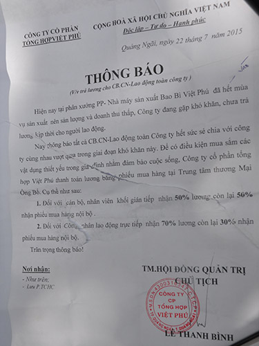 Thông báo giữ lương của Công ty Cổ phần Tổng hợp Việt Phú