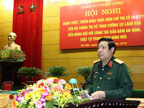 Đại tướng Phùng Quang Thanh, Bộ trưởng Bộ Quốc phòng, phát biểu chỉ đạo hội ngh