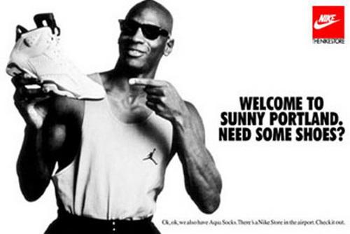 Jordan quảng cáo sản phẩm của hãng Nike