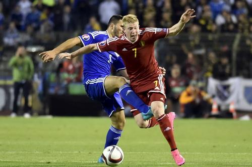Kevin de Bruyne (7) ghi bàn trong chiến thắng 3-1 của Bỉ trước Bosnia
