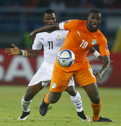Bờ Biển Ngà (phải) và Ghana gặp nhau trong trận chung kết CAN 2015