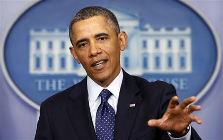 Tổng thống Obama truyền thông điệp từ Nhà Trắng. Ảnh: Reuters