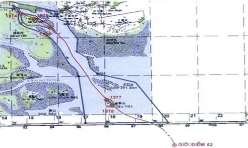 Đường ranh giới phân chia ở cửa sông Bắc Luân. Tại biên giới Việt - Trung, khu vực cửa sông Bắc Luân kéo dài từ thượng lưu bãi Tục Lãm đến điểm đầu của đường phân định Vịnh Bắc Bộ, có độ dài khoảng 14 km - Ảnh: VNE
