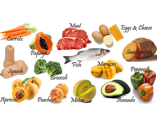 Vitamin A có nhiều trong thịt, cá, sữa, trứng và một số loại  rau quảẢnh: VISION SOURCE