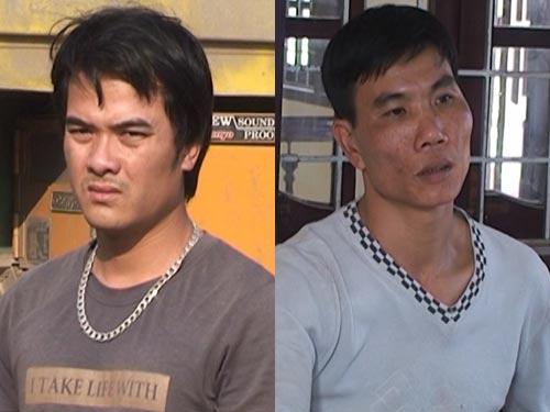 Nguyễn Văn Thái (bên trái) và Nguyễn Đình Nghị đang bị công an tạm giữ