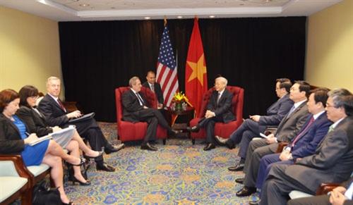 Tổng Bí thư Nguyễn Phú Trọng tiếp Đại diện Thương mại Hoa Kỳ Micheal Fromanđến chào xã giao - Ảnh: Qdnd.vn