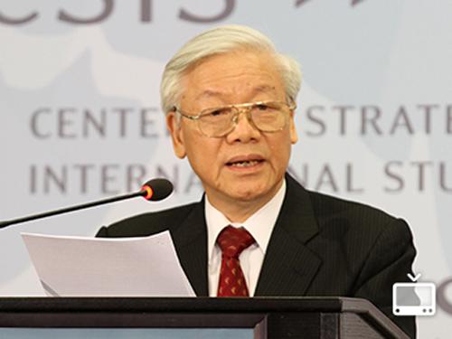 Tổng Bí thư Nguyễn Phú Trọng trả lời khách mời tại Trung tâm Nghiên cứu chiến lược và quốc tế (CSIS) - Ảnh: CSIS