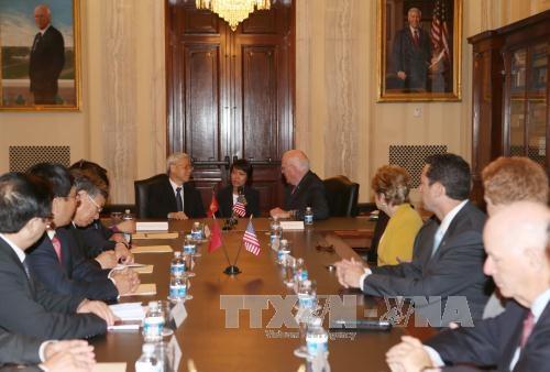 Tổng Bí thư Nguyễn Phú Trọng gặp các Nghị sĩ Mỹ do Thượng nghị sĩ Patrick Leahy chủ trì - Ảnh: TTXVN
