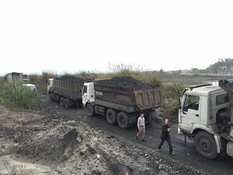 Các xe tải chở than bị lực lượng chức năng của TP Hạ Long bắt giữ. Ảnh: Báo Quảng Ninh