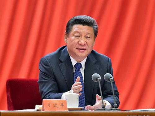 Chủ tịch Tập Cận Bình trong cuộc họp với Ủy ban Kiểm tra Kỷ luật trung ương Trung Quốc hôm 13-1 Ảnh: TÂN HOA XÃ