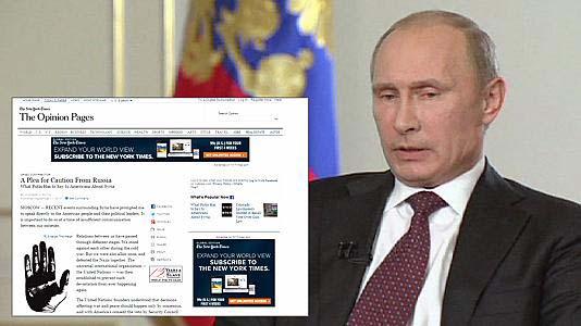 Tổng thống Nga Vladimir Putin và bài bình luận đăng trên báo The New York Times hồi năm 2013 Ảnh: rusbg.com