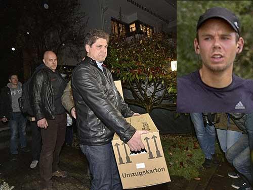 Các điều tra viên lục soát nhà của Lubitz (ảnh nhỏ) ở ngoại ô TP Dusseldorf hôm 26-3 Ảnh: AP, Reuters