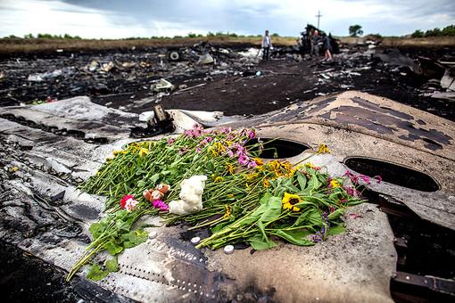 Hoa tưởng niệm các nạn nhân được đặt trên mảnh vỡ thân máy bay MH17 Ảnh: RIA NOVOSTI