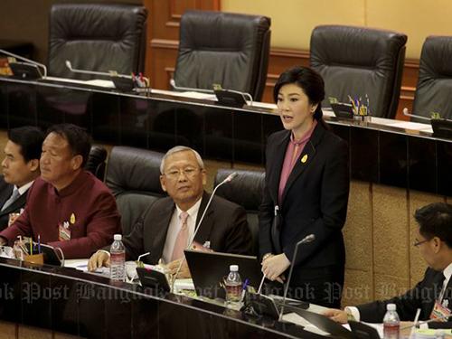 Cựu Thủ tướng Yingluck Shinawatra tại phiên điều trần luận tội đầu tiên hôm 9-1. Ảnh: Bangkok Post