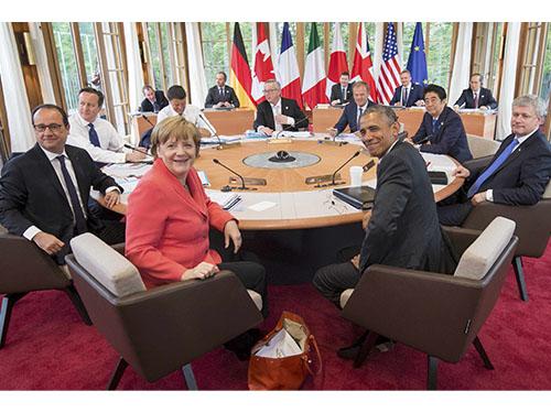 Khung cảnh một cuộc họp tại Hội nghị Thượng đỉnh G7 ở Đức hôm 8-6Ảnh: Reuters