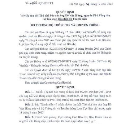 Quyết định thu hồi thẻ nhà báo của ông Đỗ Văn Hùng