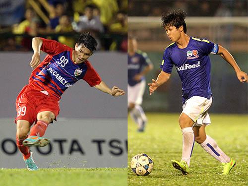 Công Vinh (trái) và Công Phượng sẽ là 2 tiền đạo được chờ đợi nhất ở V-League 2015 Ảnh: Minh Trần - Quang Liêm