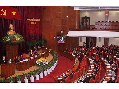 Tổng Bí thư Nguyễn Phú Trọng phát biểu khai mạc Hội nghị lần thứ X Ban Chấp hành Trung ương Đảng khóa XI Ảnh: TTXVN
